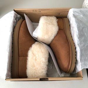 NEW UGG Classic Mini Fluff Chestnut Brown Boots